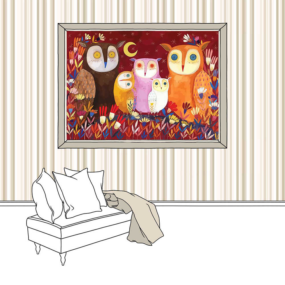 High-Quality Night Owl Poster Digital oil painting Frameless hand drawn Abstract style Animal Paintings Kids Bedroom Decor