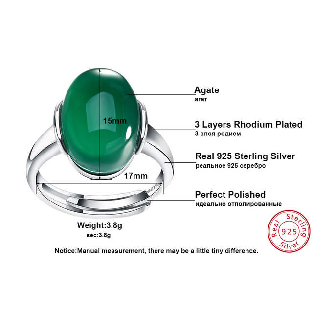 0f5054d9b1 Online Shop ORSA JEWELS Genuine 925 Sterling Silver Rings with Big Green Red  Natural Stone 2019 New Silver Couple Rings for Women Men SR24