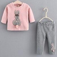 Baby Kids Toddler Girl Top Sweatshirt Pants 2pcs Set Outfits Clothes Set Cute Rabbit Pattern Children