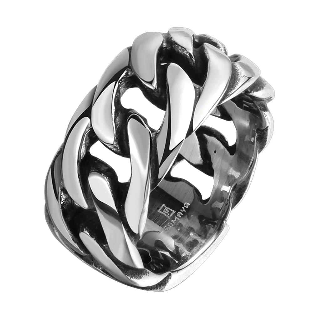 Punk Biker Jewelry Wide Chain Ring Hot Sale Finger Art Antique Silver Retro Titanium Stainless Steel Buddha 2 Buddha Ring equte rssm35c5s9 316l titanium steel x finger ring blue silver usa 9