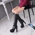 Bisi Goro new 2017 women knee high boots female autumn spring leather high heel boots women sexy fashion platform boots shoes