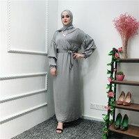 Muslim dress plus size puff sleeve turkish islamic clothing for women abaya elegant loose arabic dress kaftan