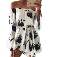 TFGS Summer Casual Fashion Women Off Shoulder Cotton Dress Floral Print Vestidos Sexy Short Elegant Boho Style Bodycon Ladies
