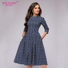 S.FLAVOR Elegant A-line Dress Vintage printing Slim Party Dress