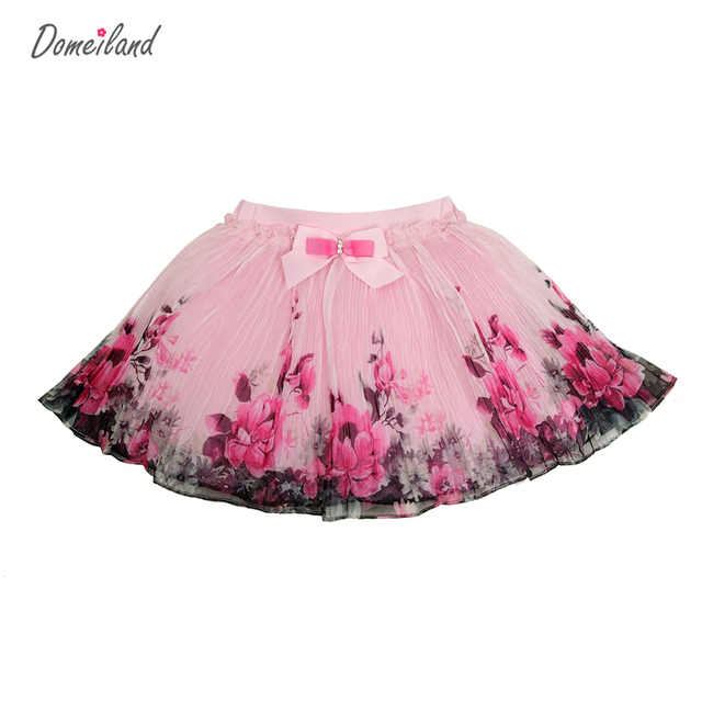 2017 Fashion Summer brand domeiland Kids Clothing Girls Floral Tutu lace Skirts Chiffon Bow Children party layer Skirt clothes