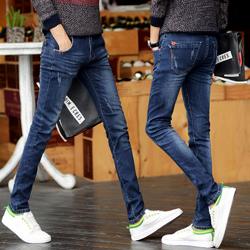 2018 new men blue jeans man Casual Pants tide fashion stretch Slim Comfortable mens Clothing long trousers male