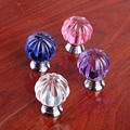 30mm Modern simple fashion purple pink clear blue glass crystal pumpkin drawer shoe cabinet win cabinet dresser knob pull handle