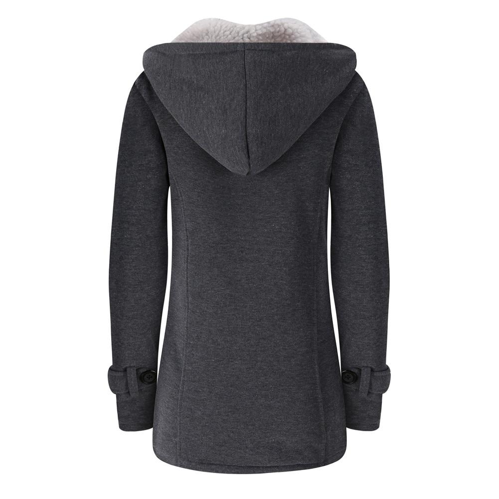 Jacket Coat Winter Women 2019 Hooded Wool Blend Praka Classic Horn Leather Buckle Coat Slim For Ladies Winter Jacket Woman Parka 13