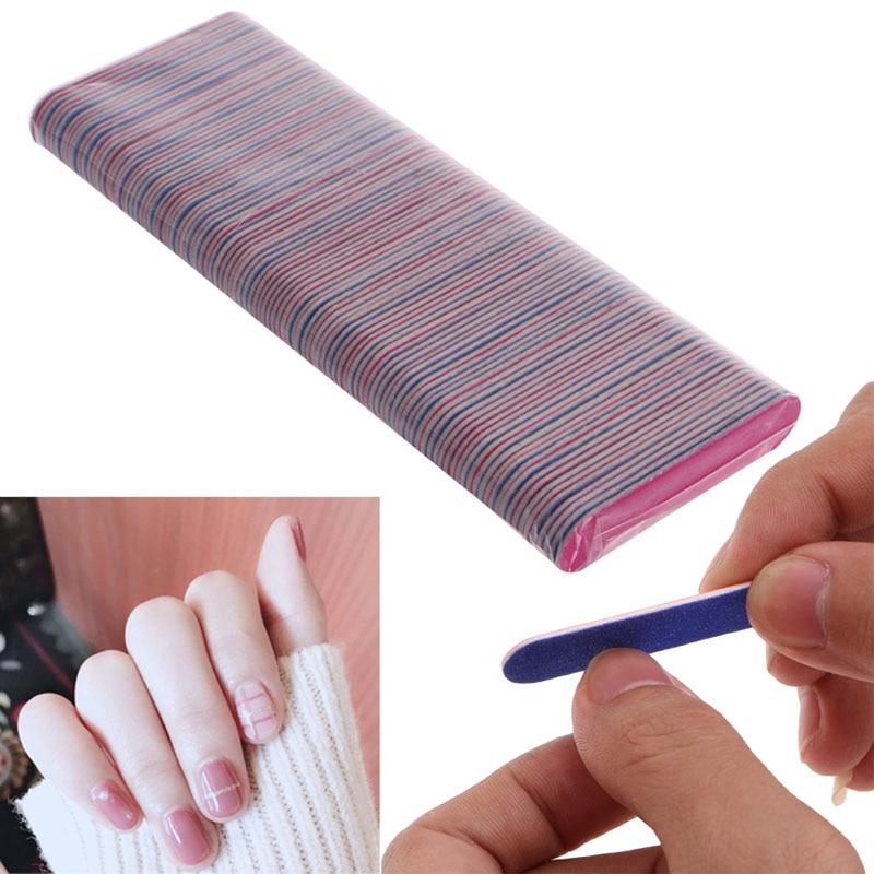 100Pcs Nail Art Manicure 2 Sides Buffing Sanding Files Nail Buffer ...
