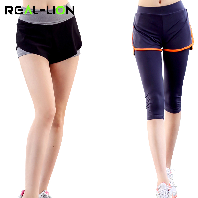 RealLion Sport Leggings Women Shorts High Elasticity Yoga Quick Dry Gym Running Capris Fitness Tights Fake Two Pieces