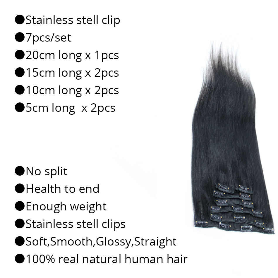 """Миссис зажим для волос в волос 16 """"18"""" 20 """"22"""" машина сделала человеческих Заколки для волос чёрный; коричневый блондинка 100% натуральных волос 100 грамм"""