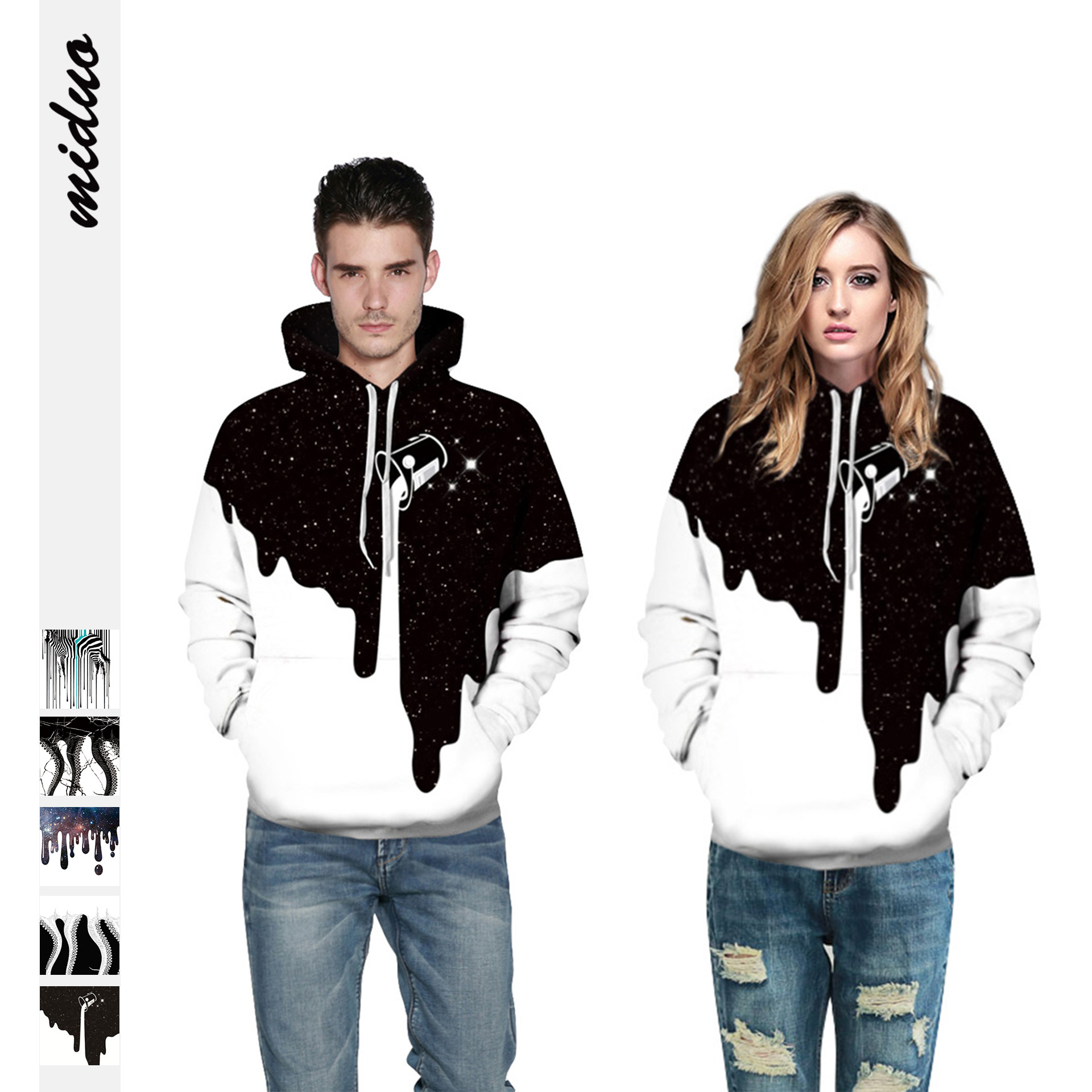 Realistic Hooded Sweatshirt for Couple 2019 Oversize Casual Leisure Pullovers Unisex Men Women Winter Hoodies Outwear for Lovers