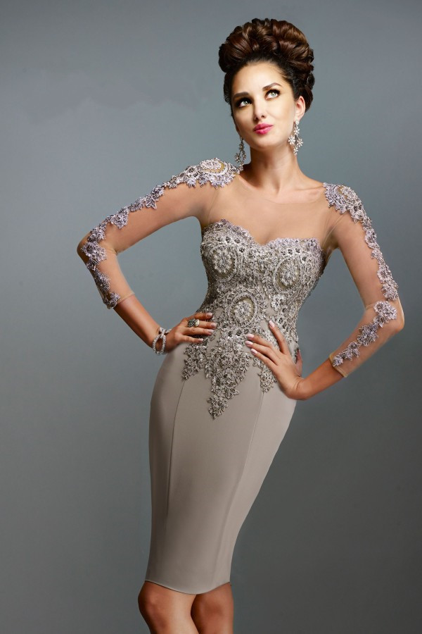 Lace Long Sleeves Knee Length Open Back Silver Mother Of The Bride Dress  2015 Plus Size 49fb652ed382