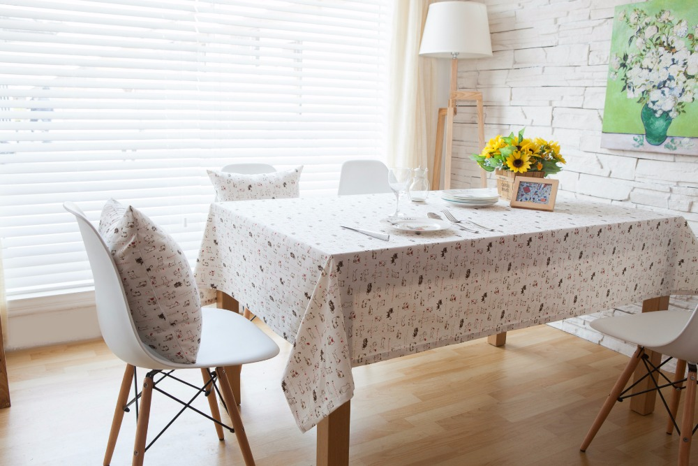 Cartoon Rectangular Tablecloths Linen Cotton Cat Table Cover Home  Rectangular White Linen Table Cloth Toalha De Mesa Quadrada In Tablecloths  From Home ...