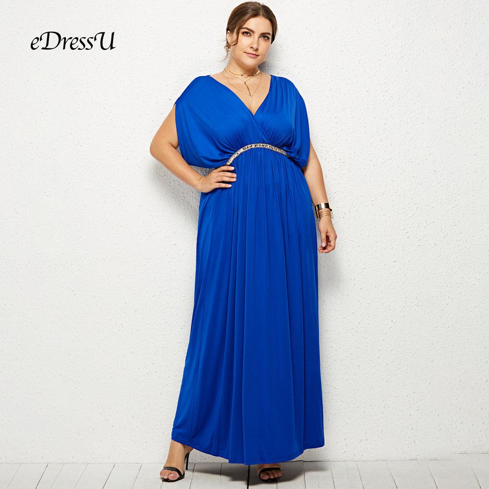5 Colors Plus Size Women Evening Party Dress Royal Blue Beading Pleated Floor Length Elegant Maxi Dress eDressU LMT-FP3112