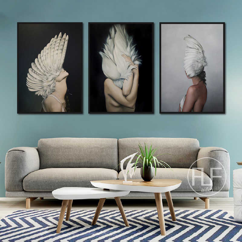 Noridc Posters And Prints Modern Sexy Girl Feathers Characters Canvas Painting Wall Pictures For living Room Home Decor Unframed