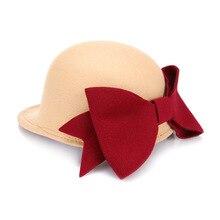 Autumn Girl Hat Equestrian Cap Casual Women Winter Hat With Big Bowknot, Baseball Cap Trilby Hat Wool Fedora Chapeu Sombrero