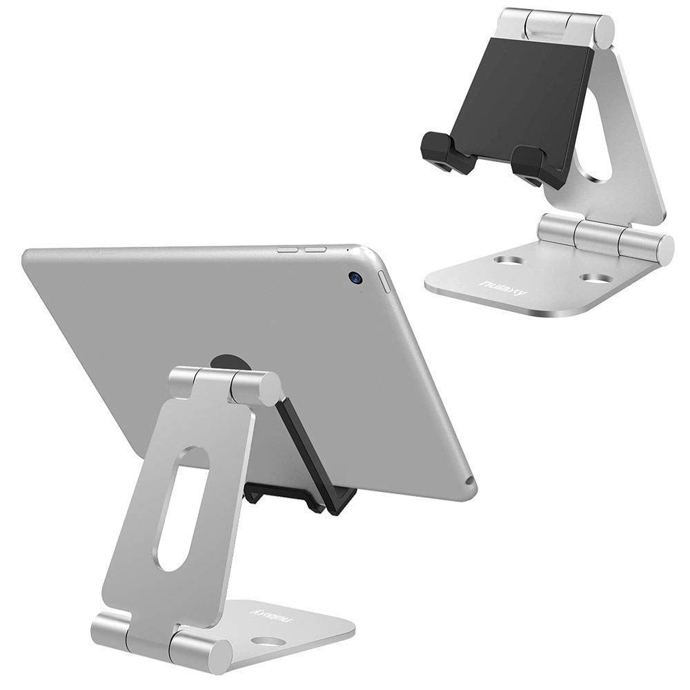 Nulaxy Mobile Phone Holder Stands Aluminium Alloy Dual Hinge Adjustable Phone Stand Foldable Desk Holder For iPad For iPhone X 8 mobile phone