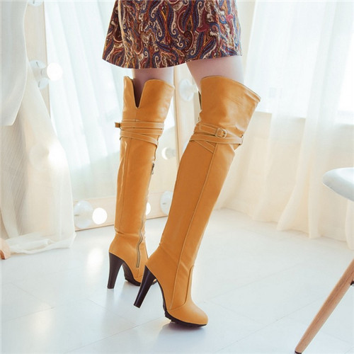 European Sexy 2015 Winter Woman Over The Knee Boots Thin High Heel Fashion Party Dating Thigh High Boots Shoes Female 4 Colors winter boots women over the knee boots genuine leather boots thigh high boots female 2017 heel fashion black shoes woman