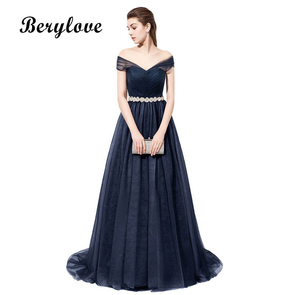 BeryLove Long Navy Evening Gowns 2018 Off Shoulder Tulle Evening ... 12d18b2607ac