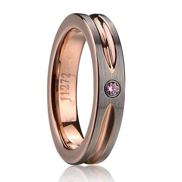 Size 5 to 15 6MM Rose Gold Plated Brushed Tungsten Carbide Couple Wedding Engagement Cubic Zircon Ring Band Anniversary Couple