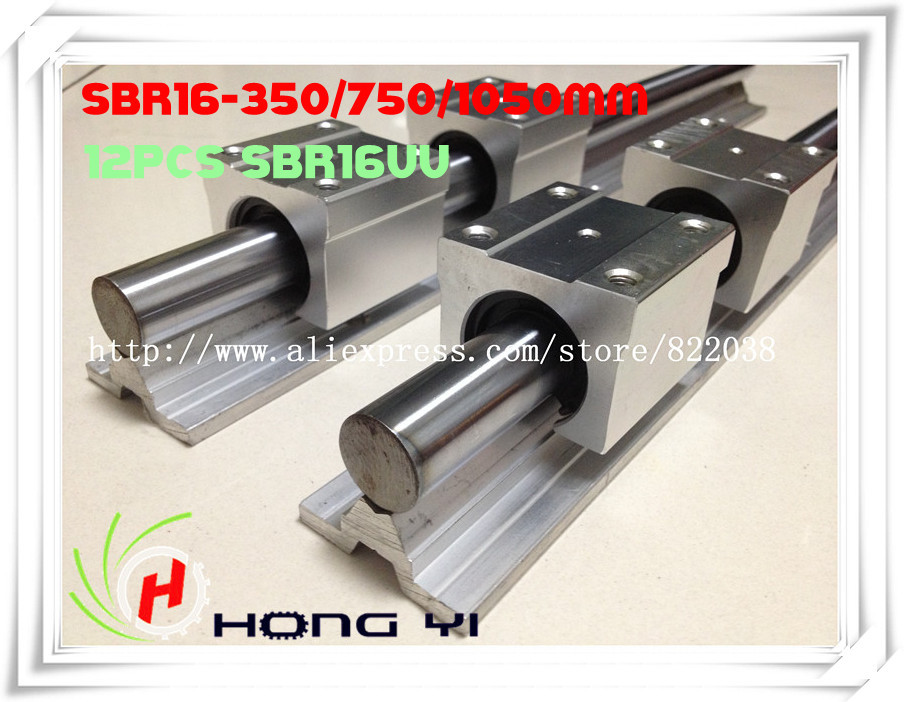 лучшая цена 2Pcs SBR16-350mm/750mm/1050mm linear rails +12 pcs SBR16UU linear bearings (can be cut any length)