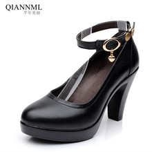 Classic Round Head Ankle Buckle Womens Shoes High Heels 2017 Genuine Leather Women Pumps Thick Heel Work Shoe N301