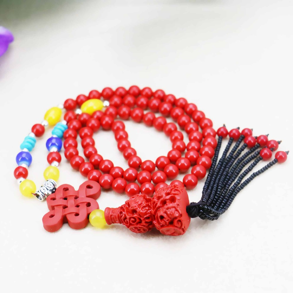 Hot sale Chinese Knot Calabash pendants Necklace Choker DIY Sweater Chain Jewelry crafts Women Girls Gifts making design 18inch