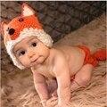 Bebê Recém-nascido Adereços Fotografia Infantil Bonito Fox Projeto Animal Knit Costume Outfit Handmade Crochet Hat Set Para 0-3 meses