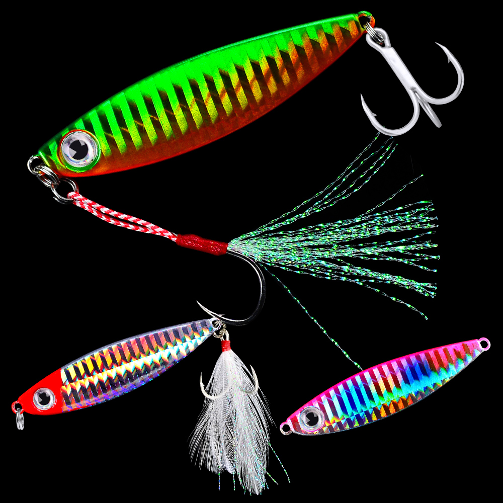 1PC Lead Fish Jig Fishing Lure 7G-10G-15G-20G-30G Metal Fishing Bait 6 Colors Scale Artificial Hard Jigging Baits With 1/2 Hooks