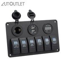 Autoutlet 12 v 24 v 6 gang led rocker switch painel disjuntores carregador led rocker switch painel para o barco de ruptura de circuito marinho