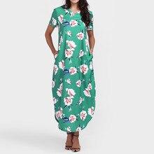 FeiTong Short sleeves boho maxi dress women Side split loose long dress shirt autumn 2018 Casual beach floral dress female