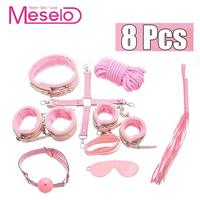 Meselo 8pcs/set BDSM Bondage Sex Toys For Women Men Couple Flirting Adult Game With Gag Ball Whip Handcuffs Rope Slave Product