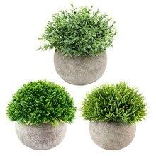 Vintage Bonsai Simulation Plant Ornaments Flower Ball Grass Ball Pot Home Decoration Plastic Green Grass Plants