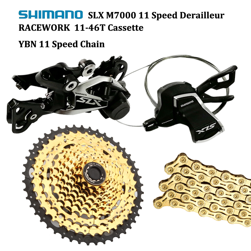 Shimano SLX M7000 MTB 11 Speed Shifter Rear Derailleur With RACEWORK 11 46T Cassette And YBN