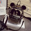 Mouse Ears Cute cartoon Clear Transparent Backpack Women Black Gold Silver clear backpack jelly backpack Casual Rivet Backpack