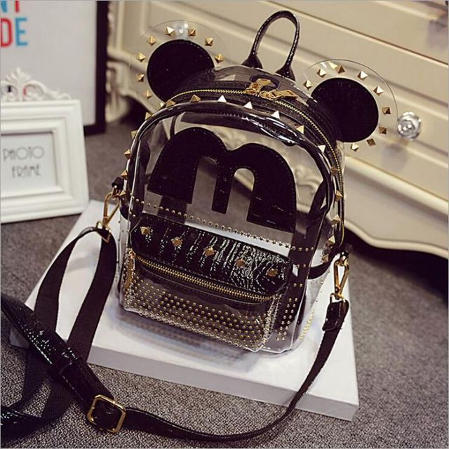 Mouse Ears Cute cartoon Clear Transparent Backpack Women Black ...