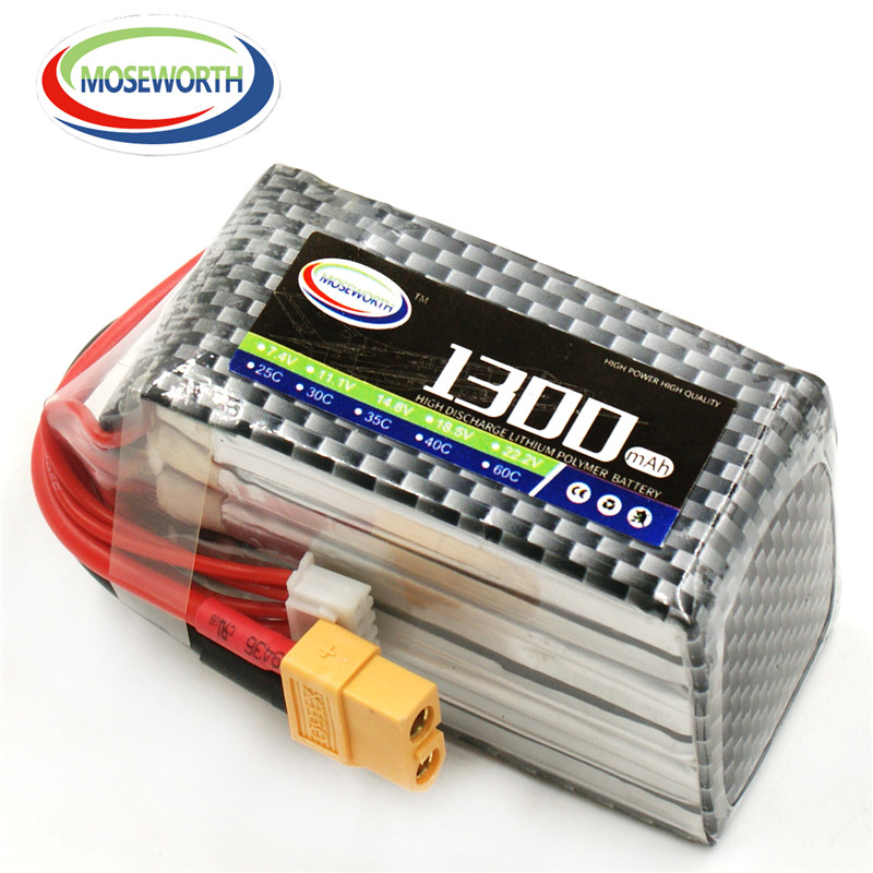 Battery <font><b>Lipo</b></font> <font><b>6S</b></font> 22.2V <font><b>1300mAh</b></font> 60C For RC Airplane Quadcopter Drone Helicopter Car Boat Truck Remote Control Toys <font><b>Lipo</b></font> Battery image