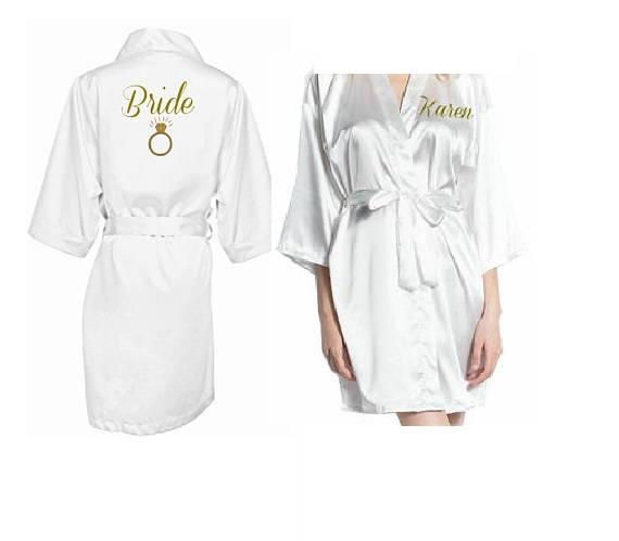 f4cd40049 Nome personalizado do casamento Da Noiva para ser Dama de honra vestidos de  cetim pijamas vestes