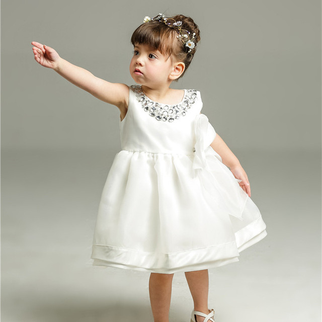 0320f22ae Fashion Baby Girls Dresses Weddings 1 Year Old Birthday Formal Bow Baby  Girl Clothes Baptism Baby Clothes RBF184031