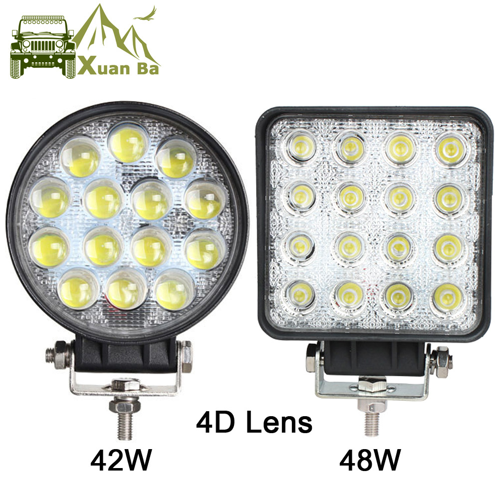 XuanBa 4.5 Inch 48W Round Led Work Light For 12v 24v Truck 4x4 off road ATV UTV 4WD offroad driving fog lamp Flood Beam Lights