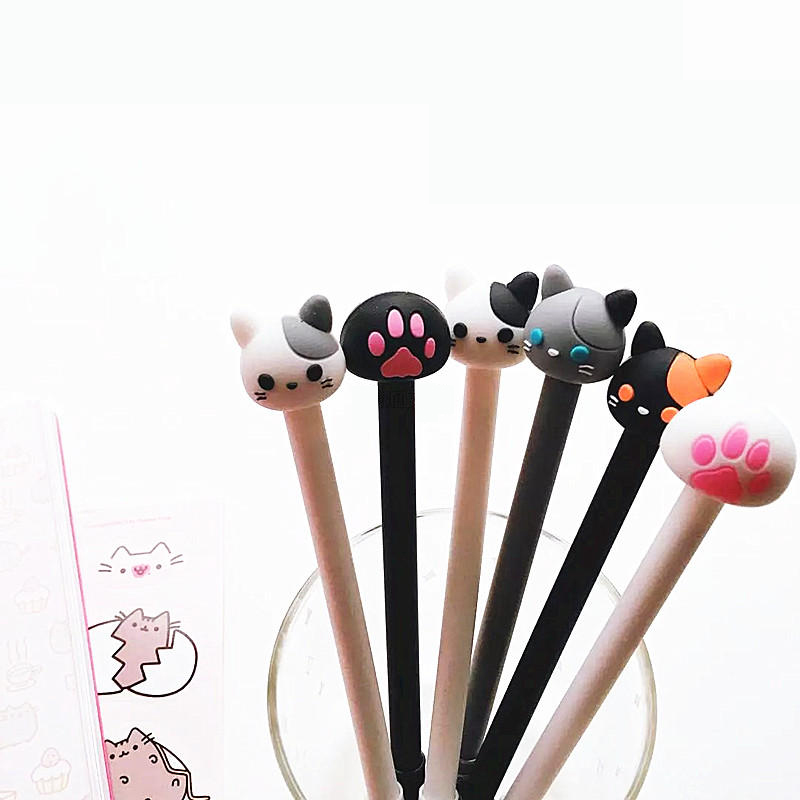 AB22 2X Cute Cute Kawaii Cat & Paw Silicone Gel Pen School Office Supply Stationery Writing Signing Pen Kids Student Gift b32 4x cute kawaii black cat gel pen kawaii writing stationery creative gift school office supply 0 5mm