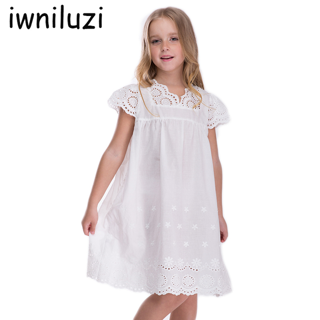 Girls white cotton beach dress