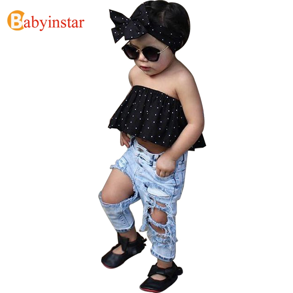 Babyinstar Summer Kids Girls Clothes Set Dot Tops + Ripped Jeans + Bow Headwear 3pcs Children's Sets Fashion Kids Suit for Girls
