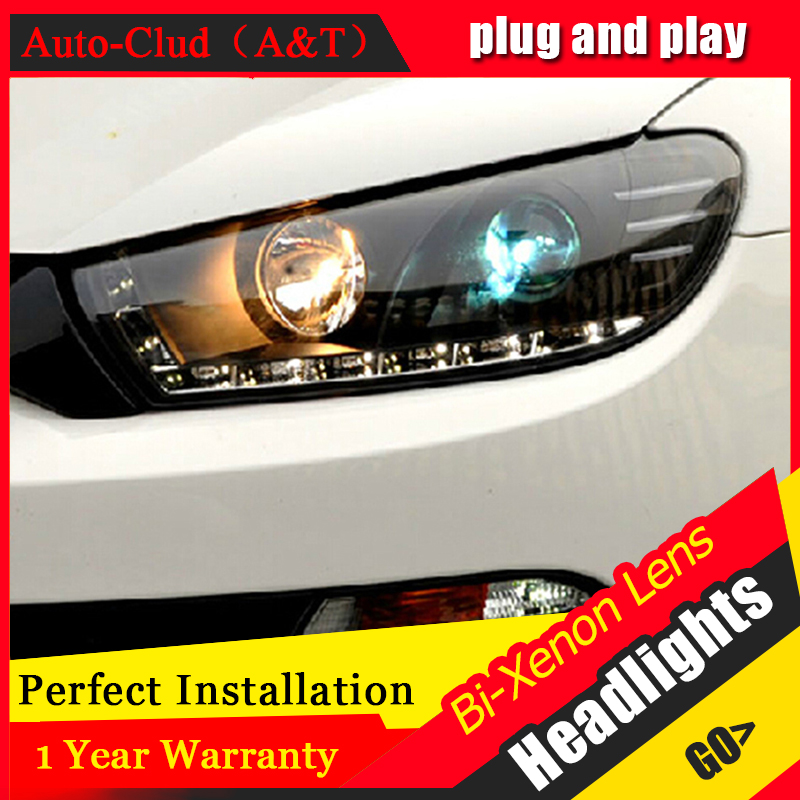 Auto Clud Car Styling for VW Scirocco Headlights Scirocco R LED Headlight DRL Lens Double Beam H7 HID Xenon bi xenon lens high quality car styling case for vw beetle 2013 2014 headlights led headlight drl lens double beam hid xenon car accessories