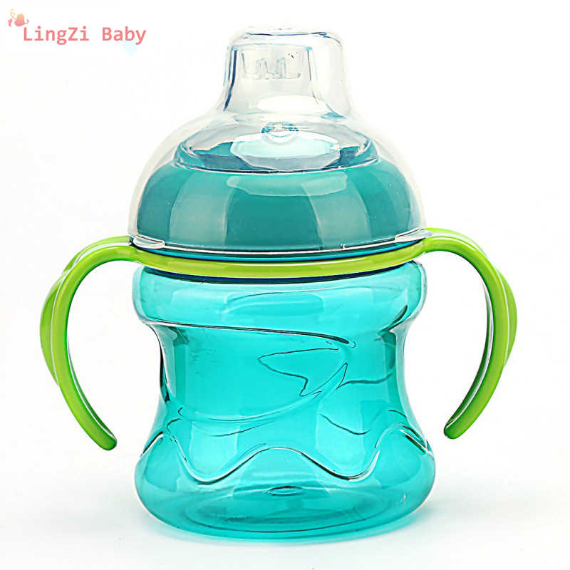 Silica gel Feeding Bottles Cups For Babies Water Milk Bottle Baby Feeding Bottle Infant Training With Handle Cups