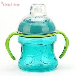 Silicone gel garrafas de alimentação copos para bebês garrafa de leite de água garrafa de alimentação do bebê treinamento infantil com alça copos