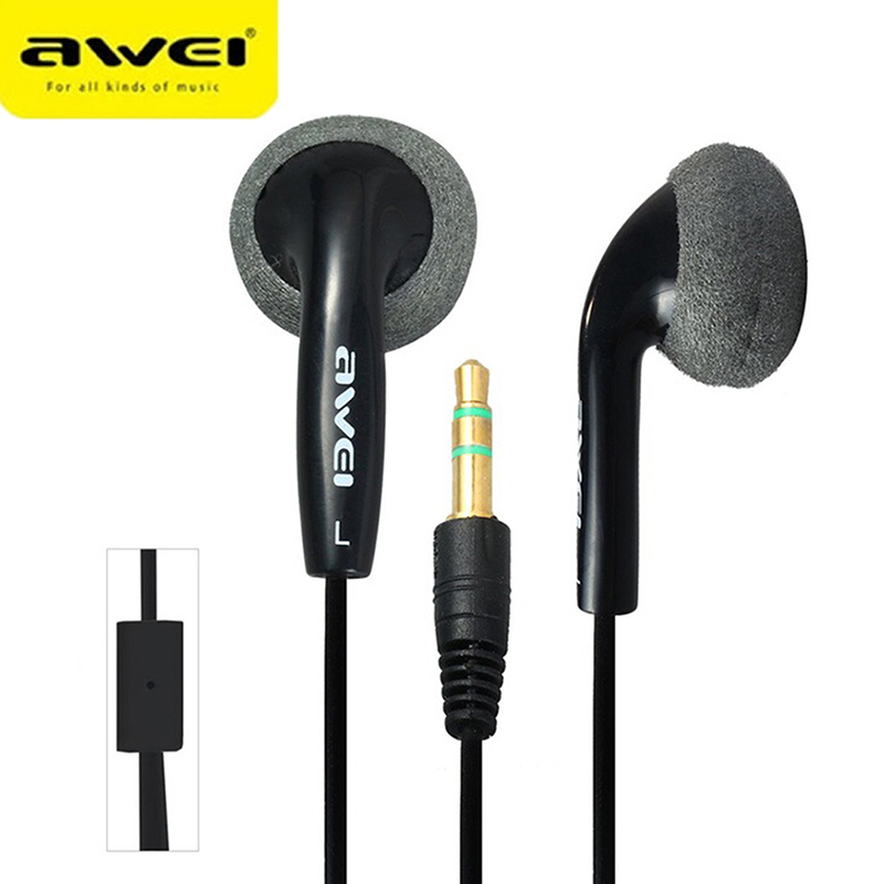 Awei Sport Wired Stereo Headphone High Quality Earphone For Your Ear Phone Buds iPhone Player Headset Earbuds Earpieces Kulakl K in Earphones Headphones from Consumer Electronics