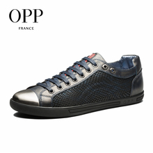 OPP 2017 Men Shoes Loafers For Men Cow Leather Flats Shoes Casual Shoes Loafers footwear for Men Lace up Snakeskin Flats