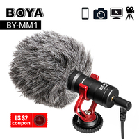 BOYA BY MM1 Video Record Microphone Compact VS Rode On Camera Recording Mic for iPhone X 8 laptop Huawei Nikon Canon DSLR&LIVE